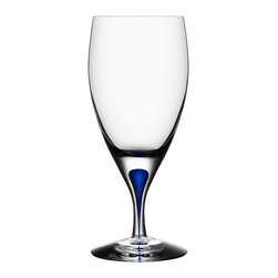 Orrefors - Orrefors Intermezzo Blue Iced Beverage Glass - Beautiful and functional,the Intermezzo iced beverage glass features a distinctive blue drop in the stem that has captured the hearts of both critics and consumers through the years. Made of crystal,this glass was designed by Erika Lagerbielke in 1985.