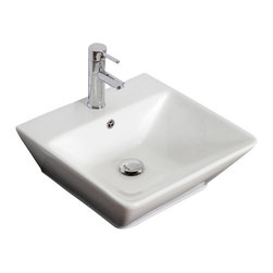 American Imaginations - 18.5-in. W x 19-in. D Wall Mount Rectangle Vessel - It features a rectangle shape. This vessel is designed to be installed as an wall mount vessel. It is constructed with ceramic. It is designed for a single hole faucet. The top features a 0.75-in. profile thickness. This vessel comes with a enamel glaze finish in White color. Wall mount white ceramic rectangle vessel. Wall mount installation kit included to hang this vessel. This Vessel features Brushed Nickel hardware. Double fired and glazed for durability and stain resistance. Quality control approved in Canada and re-inspected prior to shipping your order. Faucet and accessories not included.