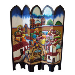 Pueblito Hand Painted Two Sided Screen - Look at this awesome 2 sided screen! Hand carved and painted. See more pictures for a picture of the other side. Each one is slightly different and unique. Mexico's best.