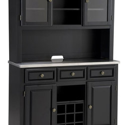 Home Styles Premier Buffet of Buffets Steel Top Buffet Server with 2 Door Hutch