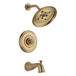 Delta - Delta T14497-CZLHP Cassidy MultiChoice 14 Series Tub and Shower Trim (Champagne - Delta T14497-CZLHP Cassidy MultiChoice 14 Series Tub and Shower Trim (Less Handle)(Champagne Bronze). The Delta T14497-CZLHP is part of the Cassidy Series. This tub/shower trim features a Monitor 14  Series pressure balanced mixing valve with Scald-Guard, a field adjustable hot water zone limit, and a solid brass fabricated body. It comes with Delta's exclusive H2OKinetic technology showerhead (2 GPM flow rate), a diverter tub spout, and an elegant, Champagne Bronze finish. This valve trim requires a Multi-Choice rough valve body and a handle (both sold separately).
