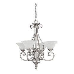 Capital Lighting - Capital Lighting Chandler Transitional Chandelier X-222-NM4703 - Classic design.  Chandelier from the Chandler Collection is finished in Matte Nickel complemented with the glow of White Faux Alabaster glass.