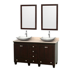 """Wyndham Collection - 60"""" Acclaim Double Vanity w/ Ivory Marble Top & Arista White Carrera Marble Sink - Sublimely linking traditional and modern design aesthetics, and part of the exclusive Wyndham Collection Designer Series by Christopher Grubb, the Acclaim Vanity is at home in almost every bathroom decor. This solid oak vanity blends the simple lines of traditional design with modern elements like beautiful overmount sinks and brushed chrome hardware, resulting in a timeless piece of bathroom furniture. The Acclaim comes with a White Carrera or Ivory marble counter, a choice of sinks, and matching mirrors. Featuring soft close door hinges and drawer glides, you'll never hear a noisy door again! Meticulously finished with brushed chrome hardware, the attention to detail on this beautiful vanity is second to none and is sure to be envy of your friends and neighbors"""