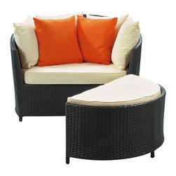 LexMod - Wedge Outdoor Wicker Patio Lounge Chair with Ottoman - Begin with a kernel of connectivity to bridge deep-seated potential with subsequent expression. Emerge in total control of natural senses and exhibit the essence of full-bodied productivity. The Wedge Outdoor Lounge Chair and Ottoman Set is a motivating tour de force at each twist and turn.