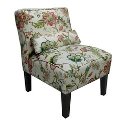 Skyline Furniture - Brissac Accent Chair in Jewel Floral - Pillow adds extra lumbar support for those with back trouble. Polyurethane foam fill. 55% Linen 45% Rayon upholstery. Made from premier solid wood. Made in USA. Assembly required. 32 in. W x 25 in. D x 33 in. H (32 lbs.)