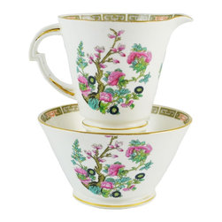 Standard China on base (a trading name of Chapmans Longton Ltd) - Consigned Creamer & Sugar Bowl English Vintage Porcelain Set in Pink & Green - 1930s English porcelain creamer and sugar bowl, decorated in Oriental style, by Chapmans Longton Ltd.