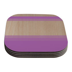 "Kess InHouse - Brittany Guarino ""Art Purple"" Lavender Wood Coasters (Set of 4) - Now you can drink in style with this KESS InHouse coaster set. This set of 4 coasters are made from a durable compressed wood material to endure daily use with a printed gloss seal that protects the artwork so you don't have to worry about your drink sweating and ruining the art. Give your guests something to ooo and ahhh over every time they pick up their drink. Perfect for gifts, weddings, showers, birthdays and just around the house, these KESS InHouse coasters will be the talk of any and all cocktail parties you throw."