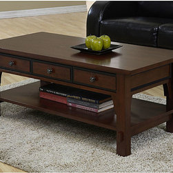 None - Talisman 3-drawer Coffee Table - Style meets functionality with this sophisticated coffee table with drawers. Ideal for displaying treasured keepsakes,the tables three drawers offer discreet storage of your items. The beautiful walnut cherry finish will complement any decor.