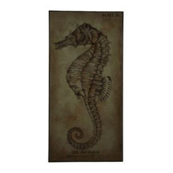 "The Sea Horse - Patient, peaceful, and loyal a seahorse weathers a storm by ""hanging"" on during the rough seas.  Our Sea Horse canvas is a symbol of refined power and strength.  All of our paintings are hand-picked by our Cokas Diko designers with quality and style in mind."