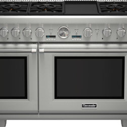 Thermador - 48 inch Professional Series Pro Grand® Commercial Depth Liquid Propane Range PRL - The combination of powerful performance and elegant styling makes the Thermador Professional Series Range the epitome of American luxury in the kitchen.  With ultimate performance driven innovation, these ranges now feature our easy-to-clean porcelain cooktop, ExtraLow® simmering featuring our Star® Burners, 18,000 BTUs Power Burner, a large capacity Convection Oven and SoftClose® doors.