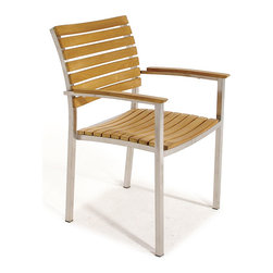 Westminster Teak Furniture - Vogue Stacking Armchair - The curved back rest and scooped seats are designed for extra comfort in seating with a sleek, modern design. Crafted from Premium Quality Teak Wood from renewable plantations and Stainless Steel. Plastic glides are utilized to ensure the chairs can be used on any surface inside or outside.