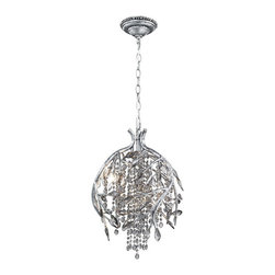 Golden Lighting - Golden Lighting 9903-3P MSI 3 Light Pendant - Organic branches are sculpted from steel and combined with crystal to create a forest canopy