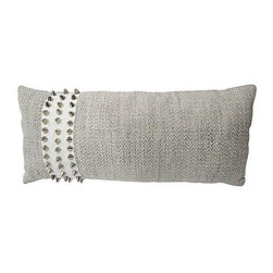 Used Studded Lumbar Pillow - This lumbar pillow is a literal stud! Custom pillow made with a gray cotton-blend fabric with stud detail. Solid back and zipper closure.