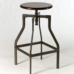 Hillsdale Cyprus Adjustable Backless Bar Stool - The wooden seat on the Hillsdale Cyprus Adjustable Backless Bar Stool turns for height adjustment from 26 to 30 inches. This stool has a sturdy metal frame with an angular retro-industrial design that adds a bold touch to any room. This bar stool's frame is finished in pewter and the wood seat is finished in distressed cherry. Please note: This item is not intended for commercial use. Warranty applies to residential use only. About Hillsdale FurnitureLocated in Louisville Ky. Hillsdale Furniture is a leader in top-quality affordable bedroom furniture. Since 1994 Hillsdale has combined the talents of nationally recognized designers and globally accredited factories to bring you furniture styling and design from around the globe. Hillsdale combines the best in finishes materials and designs to bring both beauty and value with every piece. The combination of top-quality metal wood stone and leather has given Hillsdale the reputation for leading-edge styling and concepts.