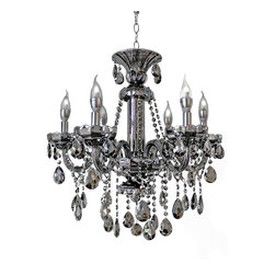Lightupmyhome - 6-Light Smoked Mirrored Silver Crystal Venetian Chandelier Light - This stunning candelabra chandelier will light up your home with elegance and class.  A stunning all glass frame and glistening crystals ensure that this chandelier will be a great focal point of any room.