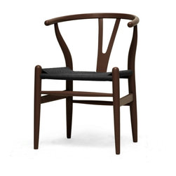 Baxton Studio - Baxton Studio Wishbone Chair - Brown Wood Y Chair with Black Seat - This mid-century dining chair features traditional wood and is paired with a modern form, resulting in a unique piece for your home. The frame consists of solid wood with a dark brown finish, a curved backrest, and sturdy black hemp seat. This item will arrive fully assembled and is also available in a light wood finish, dark wood finish, black, white, pink, or green, all with natural hemp seat's is a quality reproduction of the Hans Wegner Wishbone Chair, which is also known as the Wegner Y Chair, Carl Hansen Wishbone Chair, CH24 Wishbone Chair, and the Wegner CH24.                                                                                                             'Dimensions: 20.75 inches wide x 21.25 inches deep x 26.125 inches high