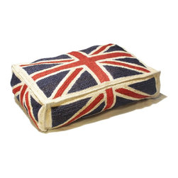 Loominary - Union Jack Floor Cushion - British invasion. Styled with a Union Jack, this floor cushion serves as an inspiring symbol for life across the pond. And, you can use it indoors or out for enjoyment year-round.