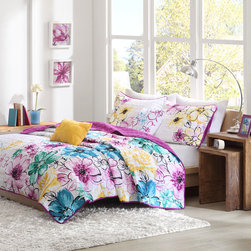 ID-Intelligent Designs - Intelligent Design Ashley 4-piece Reversible Coverlet Set - This Intelligent Design Ashley coverlet uses bright colors and an asymmetrical floral design or turned over to have a solid plum coverlet to dazzle your space. Two decorative pillows feature floral embroidery for extra dimension.