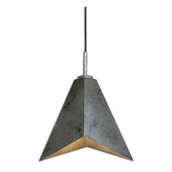 Carolyn Kinder - Carolyn Kinder Flint Industrial Modern / Contemporary Pendant Light X-51022 - Angular Sheets Of Industrial Metal In An Antiqued Silver Finish Highlighted With Warm Rust Distressing Make Up The Character Of This Sleek, Elegant Pendant Able To Blend With Todayâ&trade:s Clean Interior Styles.