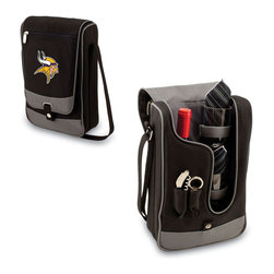 """Picnic Time - Minnesota Vikings Barossa Wine Tote in Black - The Barossa is so sleek and sophisticated, you'll want to take it with you every chance you get. It's made of 600D polyester and features an adjustable shoulder strap that makes it easy to carry and a flat zippered pocket on the exterior flap. The Barossa is fully insulated to keep your wine the perfect temperature and has a divided interior compartment to separate your bottle of wine from the 2 (8 oz.) acrylic wine glasses included. Also included are: 1 stainless steel waiter style corkscrew, 1 bottle stopper (nickel-plated), and 2 napkins (100% cotton, 14 x 14"""", Black with silver pinstripe). The Barossa wine tote is perfect for picnics, concerts, or travel and makes a wonderful gift for those who enjoy wine.; Decoration: Digital Print; Includes: 12 stainless steel waiter style corkscrew, 1 bottle stopper (nickel-plated), and 2 napkins (100% cotton, 14 x 14"""", Black with silver pinstripe)"""