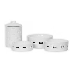 Just4myPet - Bone Appetit Pet Bowl, Medium - Made with emblazoned porcelain and featuring a pierced bone motif, Bone Appetit Pet Bowls push towards simplicity, but still offers elegance. Bowls and Canister are sold individually. Bowls are available in various sizes.