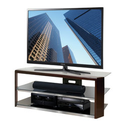 """Bello - Bello 60"""" TV Stand in Dark Espresso - Bello - TV Stands - AVSC2164 - This stately TV Stand features a bold real wood front in an elegant Dark Espresso finish. With a width of 60""""it can accommodate most flat panel TVs up to 65""""plus up to six audio/video components on the tinted tempered safety glass shelves. There is an integrated CMS Cable Management System to hide and manage unsightly wires and interconnect cables. The open architecture design provides plenty of air circulation for convection cooling of components. This A/V furniture features No Tools Assembly and goes together in minutes with no tools required."""