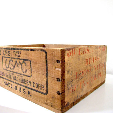 United Shoe Machinery Wood Crate by FrenchByDesign - Oh, the endless possibilities of old wood crates — they're perfectly rustic for your outdoor space. I'd put potted herbs inside this lovely vintage one.