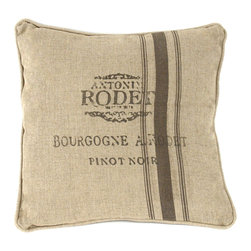 "Kathy Kuo Home - French Country Farm Stand ""Pinot Noir"" Stripe Throw Pillow - Tailor made for wine enthusiasts and Francophiles alike, this linen throw pillow hints at what you and your guests were already thinking: it's high time to open a bottle of red.  The pillow's striped pattern and muted colors add to the rustic design, making this a great accessory for your French country or contemporary style room."