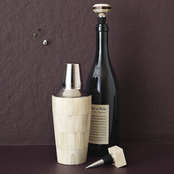Bone Cocktail Shaker + Wine Stoppers - Shake up the party with this bone cocktail shaker and matching wine stopper. I love this combination of an old-world art technique and a modern kitchen essential. Mixing and matching old pieces with contemporary ones always gives a look that is unique and unexpected.
