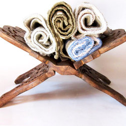 Wooden Rack - Towel Rack, Wine Rack, Linen Storage - A book stand turned towel rack, makes a cute rustic way to display hand cloths!