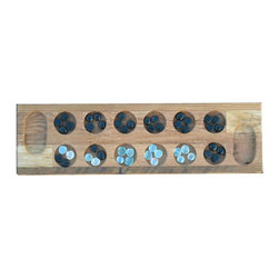 """The Rusted Nail LLC - Rusted Nail Mancala Board - From the Arabic word meaning """"to move,"""" mancala count-and-capture games are enjoyed around the world. Here's a stylish way to play at your house: The board is hand crafted of reclaimed barn wood for rustic appeal, and the pieces are polished pebbles that come in a drawstring bag."""