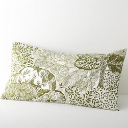 Eden King Sham - Relax into a fantasyland of lush trees, limbs and leaves, printed in soothing forest green on creamy cotton. Shams with echoing tree motifs have overlapping center back closures. Bed pillows available.