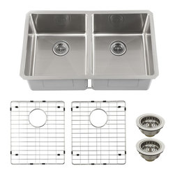 Schon - Schon SCRA505016 Luxury 16 Gauge 50/50 Double Bowl Radius Corner Kitchen Sink, S - Schon SCRA505016 Luxury 16 Gauge 50/50 Double Bowl Radius Corner Kitchen Sink, Stainless Steel Constructed of luxurious 16 gauge commercial grade stainless steel, these sinks are tough enough for commercial applications yet beautiful enough to grace the most distinctive private residence. From innovative radius corner bowls to hand-built apron front farmhouse basins, Schon has a distinctive solution to accommodate your needs. Practical. Beautiful. Smart. Schon is Simply Modern. Schon SCRA505016 Luxury 16 Gauge 50/50 Double Bowl Radius Corner Kitchen Sink, Stainless Steel Features: This beautiful double-bowl radius sink will be the centerpiece of your kitchen or utility room Constructed of luxurious 16 gauge commercial grade stainless steel Soft satin brushed finish looks amazing under any solid surface countertop Sound dampened with premium sound proof coating & rubber pad Triple reinfor