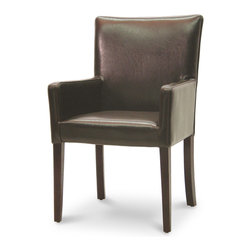 Palecek - Hudson Woven Back Armchair, Dark Brown - Plantation hardwood frame and legs. Fully upholstered leather seat, sides, and inside back. Woven outside back. Available only as shown.