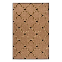 """Surya - Surya Portera PRT-1048 (Tan, Dark Brown) 7'10"""" x 10'8"""" Rug - Elegant contemporary designs and subtle transitional motifs adorn the unique patterns of the Portera Collection. These rugs are machine woven of 100% Olefin and are outdoors safe. The added element of the thin to low pile features within the pattern gives this collection the added visual interest to attract attention to your outdoor spaces."""