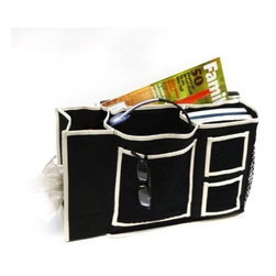Florida Brands - 3 Pocket Bedside Caddy with Tissue Box Holder in Black - Creates a storage space for books, tissues, pencils, and electronic gadgets for those late night study sessions
