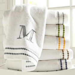 Pearl Embroidered Bath Towel - I love to use embroidered monogrammed towels in my bathroom. The pearl design on these is simple but fabulous.