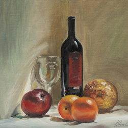 Still life with fruits and wine. Artwork - Still life - fruits and wine on the white cloth.
