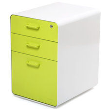 Modern Filing Cabinets West 18th File Cabinet, White/Lime Green