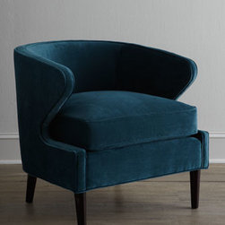 """Horchow - Percilla Chair - Barrel chair with wide, extended arms invites you to settle in and stay a while. Engineered hardwood frame with """"metropolitan"""" finish. Peacock-blue polyester upholstery. Mortise-and-tenon frame construction. 28""""W x 31""""D x 28.5""""T. Handcrafted in the..."""