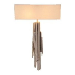 ecofirstart - WALL LAMP 'ATLANTIDE' - Utilizing sea-formed driftwood as its base, this attractive wall lamp makes a charming statement about the beauty of natural light. With a rectangular cotton lampshade and its one-of-a-kind design, your ecofriendly sconce whispers the lull of the waves from its post while illuminating your world.