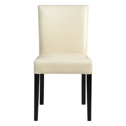 Lowe Ivory Leather Side Chair - The style is classic Parsons. The colors are classic or fashion-forward. The look is bold and modern in soft pebbled bicast leather and double saddle-stitching. Crafted of solid birch with legs stained a rich ebony.