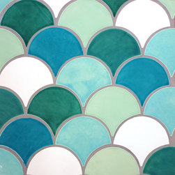 Large Format Moroccan Fish Scales - Large Format Moroccan Fish Scales - 1015E Caribbean Blue, 11 Deco White, 1017E Sea Mist, 216E Sea Glass, 12E Bluebell