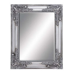 """Benzara - Beveled Mirror with Charming Moldings Along The Frame - Beveled Mirror with Charming Moldings along The Frame. Featuring a classic-styled beveled frame, this mirror features a rich silver finish while the distressed accents give a vintage, opulent look to the design. It comes with following dimensions 17""""W x 1""""D x 21""""H."""