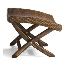 Frontgate - Frontgate Balencia Outdoor Ottoman, Patio Furniture - Sublimely contoured to support the body. Handcrafted of weather-defying wicker fiber. Ultra-strong aluminum frame. Folds flat for easy storage and transport. The artfully woven Balencia Bronze Folding Ottoman enhances the curved comfort of the Balencia Folding Chair. Designed by noted French designer Claude Robin, the ottoman's supple all-weather fibers won't stick to skin like vinyl or plastics. . . . .
