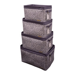 Enchante Accessories Inc - Rectangular Canvas Storage Bins with Zippered Cover (Grey) - Set of 4 Open top Storage Bins