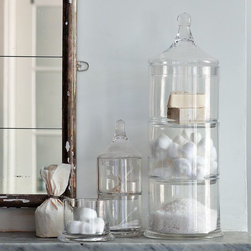 Stacked Apothecary Jars - Anything three-in-one works for me, and this trio of glass containers is fantastic. I love the look, style and efficiency of it. You can use it to store anything that comes to mind: household items, food goodies or good ol' cotton swabs.