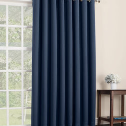 Sun Zero - Navy Mercer Blackout Patio Panel - Filter light, reduce noise and even insulate your home with this curtain panel that offers both function and essential style. Its grommet construction prevents snags and makes installation a breeze.   Includes one panel Grommet Woven 100% polyester Machine wash Imported