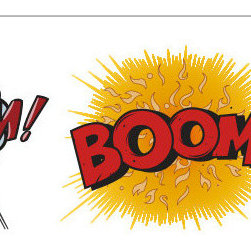 Comic Book Bundle Wall Stickers by The Binary Box - If you're trying to resist the pressure to buy room decor inspired by commercial cartoon characters, how about these superhero-themed decals? They seem to have been lifted straight out of comic books. If used artfully, they could add some humorous visual punctuation to a plain wall.