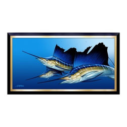 Beach House - Triple (Sailfish art) by Dennis Friel Art Studios, LLC / Three sailfish on the hunt and in pursuit of their next feast. This amazing piece is guaranteed to enhance any space in which it's destined to dwell. Beautifully illustrated, it was the recipient of the 2012 Marlin Magazine annual art gallery's Reader's Choice Award. The canvas giclee comes framed in three very unique dimensions.
